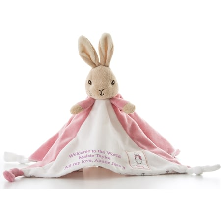 Personalised Peter Rabbit Girls Baby Pink Flopsy Comforter