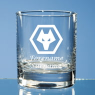 Personalised Wolverhampton Wanderers FC Wolves Crest Whisky Glass
