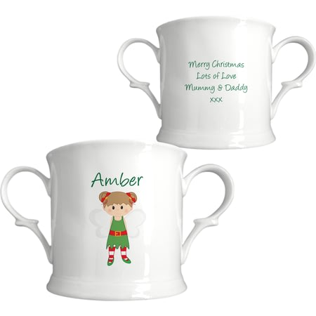 Personalised Christmas Pixie Bone China Loving Cup