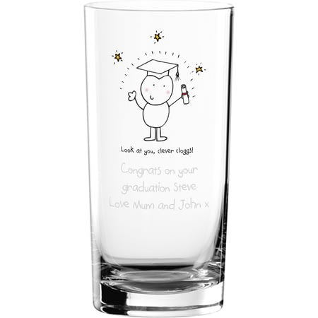 Personalised Chilli & Bubble's Graduation Hi Ball Glass