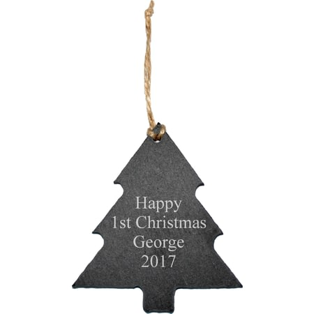 Personalised Engraved Slate Christmas Tree Decoration - Any Message