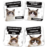 Personalised Grumpy Cat Grey Coasters