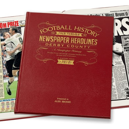 Personalised Derby County Football Newspaper Book - Leather Cover