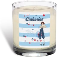 Personalised Riviera Stripe Scented Candle