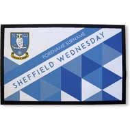 Personalised Sheffield Wednesday FC Patterned Rubber Backed Door Mat