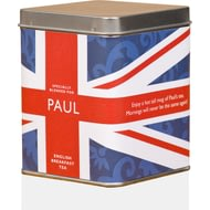 Personalised Tea Bags In Tin Union Jack Design