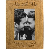 Personalised 6x4 Mr & Mr Wooden Photo Frame