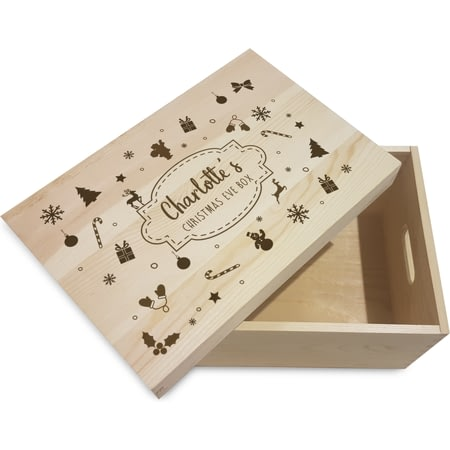 Personalised Winter Motif Wooden Christmas Eve Box