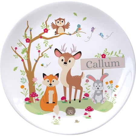 "Personalised Woodland Animals Scene 8"" Ceramic Plate"