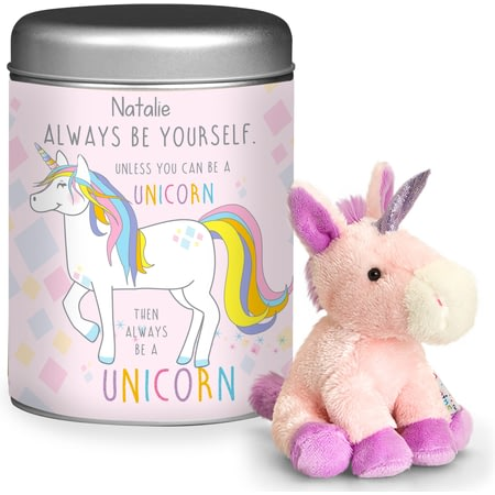 Personalised Always Be A Unicorn Teddy In A Tin