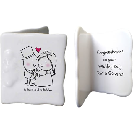 Personalised Chilli & Bubbles To Have And To Hold Ceramic Message Card