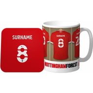 Personalised Nottingham Forest FC Dressing Room Shirts Mug & Coaster Set