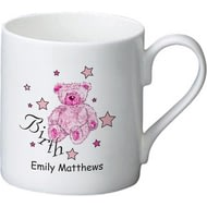 Personalised Teddy & Stars Pink Birth Ceramic Mug