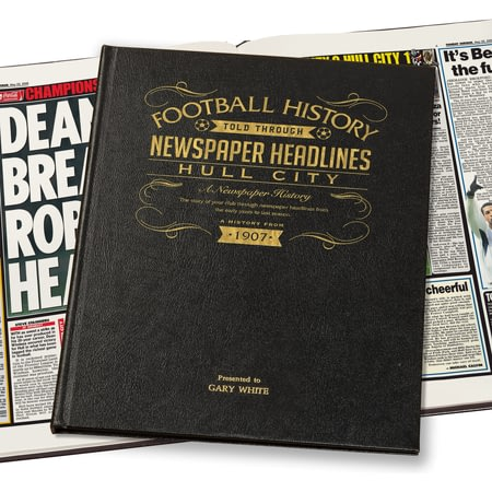 Personalised Hull Football Newspaper Book - Leather Cover