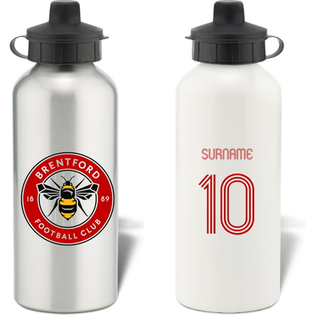 Personalised Brentford Retro Shirt Aluminium Sports Water Bottle