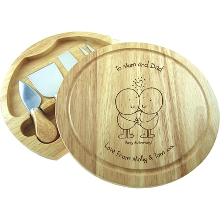 Personalised Chilli & Bubbles Anniversary Round Cheeseboard With Knives
