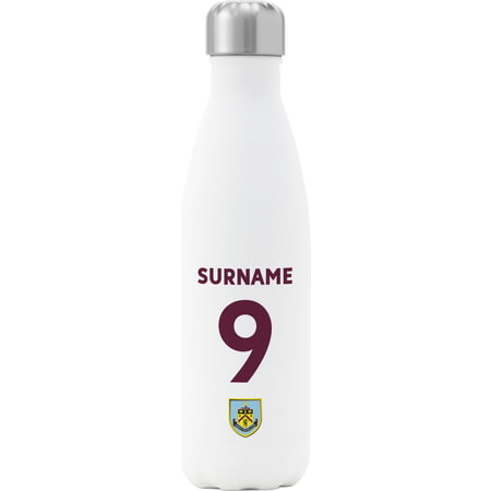 Personalised Burnley FC Back Of Shirt Insulated Water Bottle - White