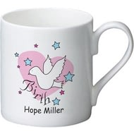 Personalised Dove & Hearts Pink Birth Ceramic Mug