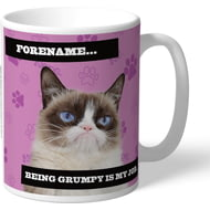 Personalised Grumpy Cat - Grumpy Is My Job Pink Mug