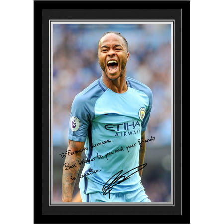 Personalised Manchester City FC Sterling Autograph Photo Framed
