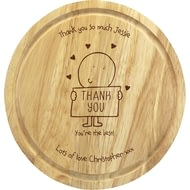 Personalised Chilli & Bubble's Thank You Round Chopping Board