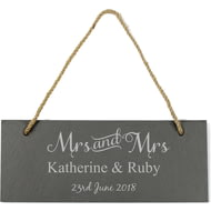 Personalised Mrs & Mrs Hanging Slate Sign Plaque