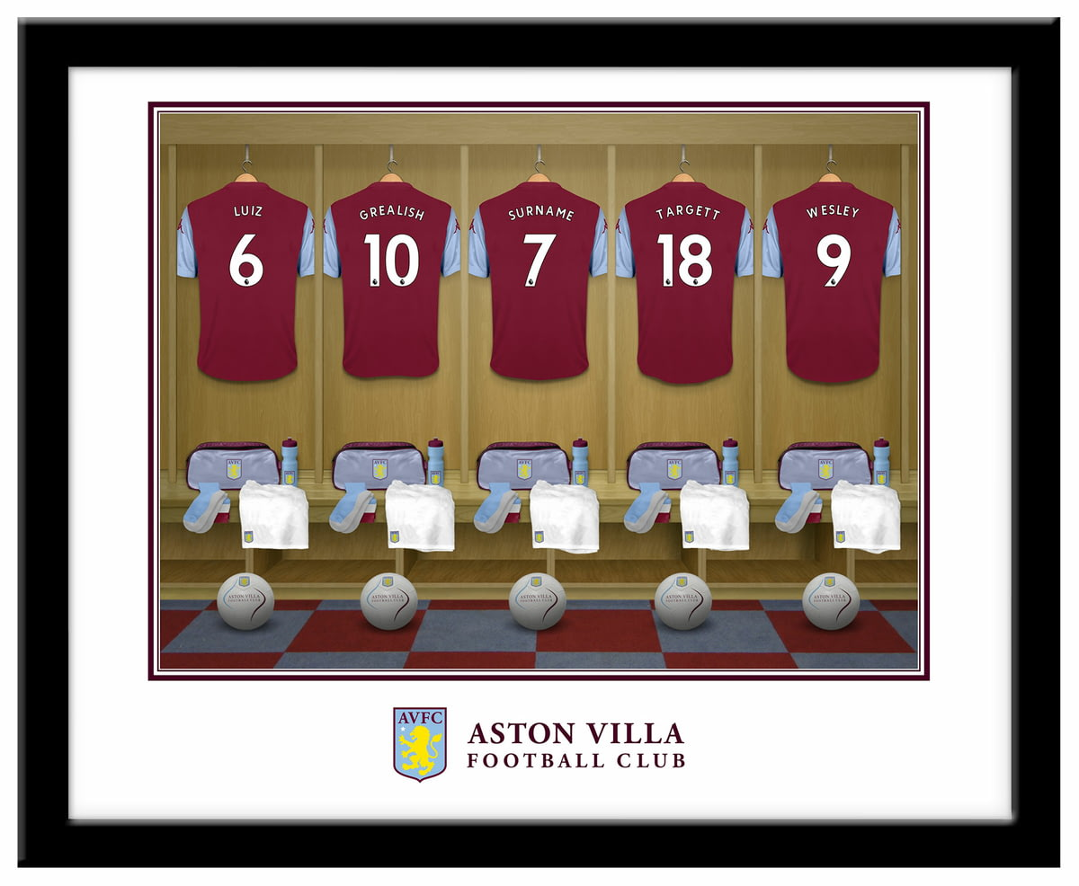 3d1ee6a75de Personalised Aston Villa FC Dressing Room Shirts Framed Print from Go Find  A Gift