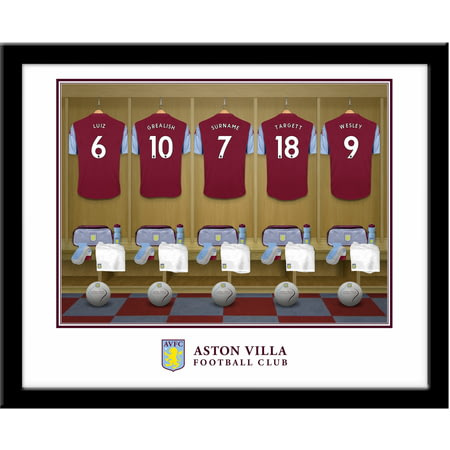 Personalised Aston Villa FC Dressing Room Shirts Framed Print