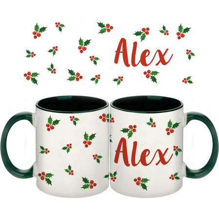 Personalised Name In Holly Green Ceramic Mug