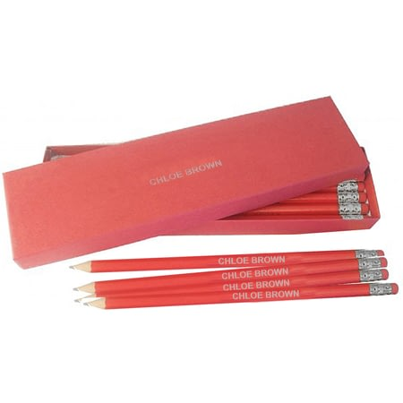 Personalised 12 Red Pencils In A Red Box