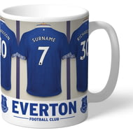 Personalised Everton FC Dressing Room Shirts Mug