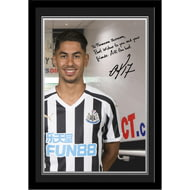 Personalised Newcastle United FC Perez Autograph Photo Framed