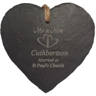 Personalised Mr & Mrs Heart Slate Hanging Sign