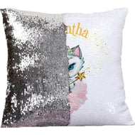 Personalised Nina Kitten Fairy Sequin Cushion Cover