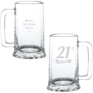 Personalised Birthday Banner Pint Glass Stern Tankard