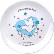 "Personalised Dove & Hearts Blue Christening 8"" Coupe Plate"