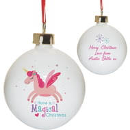 Personalised Magical Christmas Unicorn Ceramic Tree Bauble