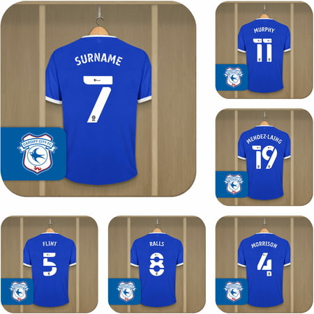 Personalised Cardiff City Dressing Room Shirts Coasters