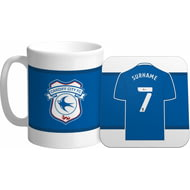 Personalised Cardiff City FC Shirt Mug & Coaster Set