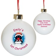 Personalised Cartoon Penguin 1st Christmas Tree Bauble