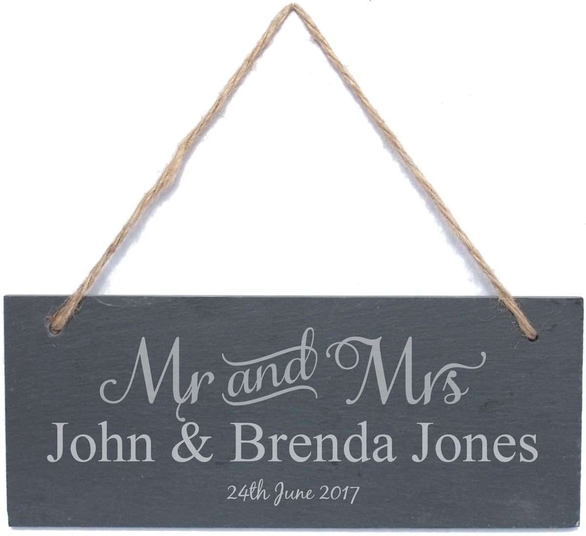 Personalised Mr Amp Mrs Hanging Slate Sign Plaque From Go