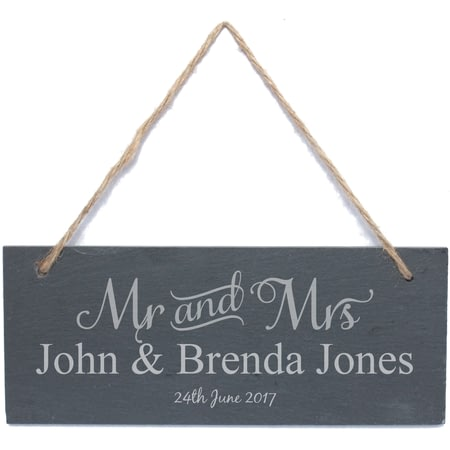 Personalised Mr & Mrs Hanging Slate Sign Plaque