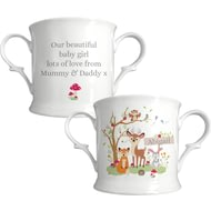 Personalised Woodland Animals Scene Loving Cup