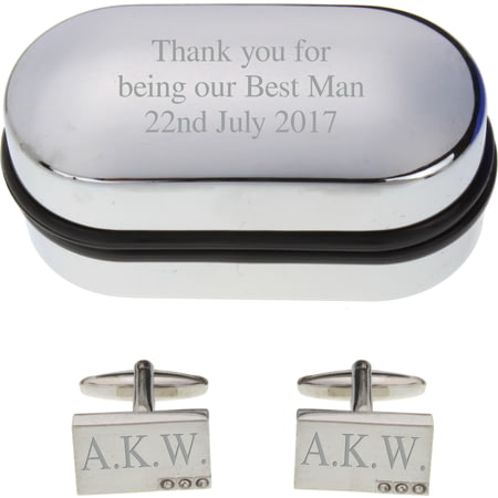 Personalised Engraved Cufflinks with Crystals in Gift Box