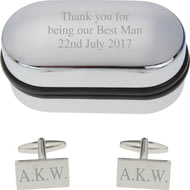 Personalised Engraved Rectangle Cufflinks in Gift Box
