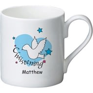 Personalised Dove & Hearts Blue Christening Ceramic Mug