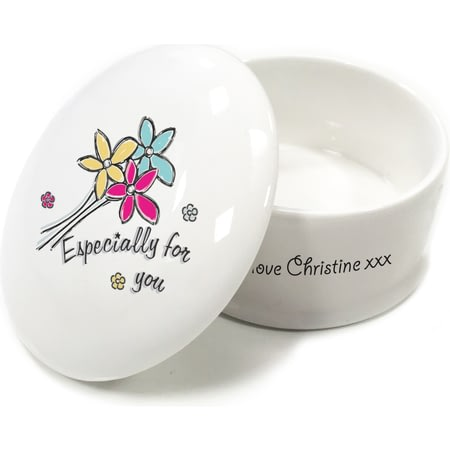 Personalised Especially For You Flowers Ceramic Trinket Box