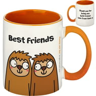Personalised Best Friends Sloth Orange Inside Mug