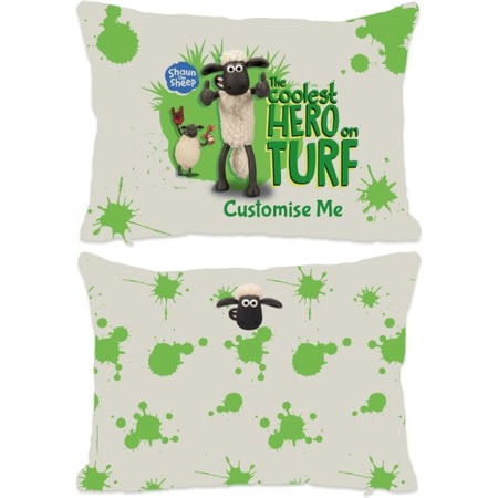 "Personalised Shaun The Sheep ""Coolest Hero On Turf"" Rectangle Cushion - 45x30cm"