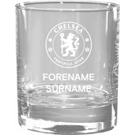 Personalised Chelsea FC Crest Whisky Glass